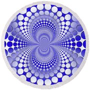 Abstract Blue And White Pattern Round Beach Towel by Vladimir Sergeev