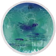 Abstract Blue Green Round Beach Towel