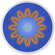 Abstract Blue Square, Orange And Yellow Star Round Beach Towel