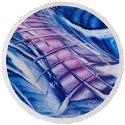 Abstract Blue With Pink Centre Round Beach Towel