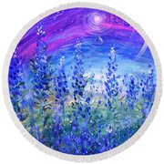 Abstract Bluebonnets Round Beach Towel