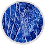 Abstract Blues Encaustic Round Beach Towel
