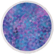 Round Beach Towel featuring the mixed media Abstract Blues Pinks Purples 3 by Clare Bambers