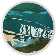Round Beach Towel featuring the photograph Abstract Boat Reflection by Dave Gordon