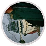Abstract Boat Reflection II Round Beach Towel