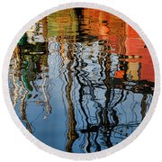 Abstract Boat Reflections Iv Round Beach Towel