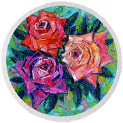 Abstract Bouquet Of Roses Round Beach Towel by Mona Edulesco