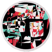 Abstract Boxes Round Beach Towel by Jessica Wright