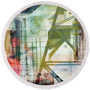 Abstract Bridge With Color Round Beach Towel by Susan Stone