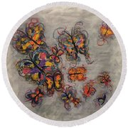 Abstract Butterflies Round Beach Towel