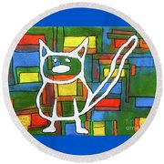 Abstract Cat II Round Beach Towel by Gerhardt Isringhaus