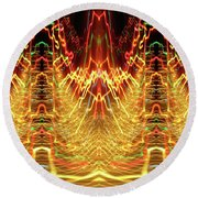 Abstract Christmas Lights #175 Round Beach Towel by Barbara Tristan
