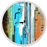 Abstract City Downtown Round Beach Towel