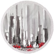 Abstract Cityscape Painting - 1 Round Beach Towel