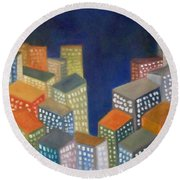 Abstract Cityscape Series Round Beach Towel