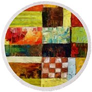 Abstract Color Study With Checkerboard And Stripes Round Beach Towel by Michelle Calkins