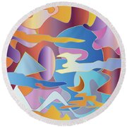 Abstract Colorful Sky Tones Dawn Sunset Daylight Evening Round Beach Towel