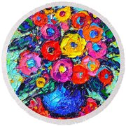 Abstract Colorful Wild Roses Modern Impressionist Palette Knife Oil Painting By Ana Maria Edulescu  Round Beach Towel