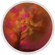Abstract Colourful Tree Round Beach Towel