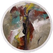 Abstract Contemporary Modern Original Painting On Canvas  Round Beach Towel