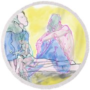 Abstract Contour Round Beach Towel