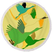 Abstract Cranes Round Beach Towel