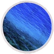 Abstract Crater Lake Blue Water Round Beach Towel
