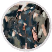 Round Beach Towel featuring the digital art Abstract Cube Fish With Overbite by Nola Lee Kelsey
