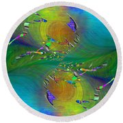 Round Beach Towel featuring the digital art Abstract Cubed 359 by Tim Allen