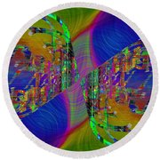 Round Beach Towel featuring the digital art Abstract Cubed 368 by Tim Allen