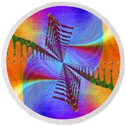 Round Beach Towel featuring the digital art Abstract Cubed 372 by Tim Allen