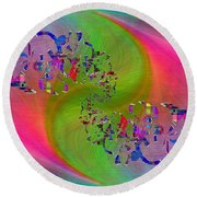 Abstract Cubed 381 Round Beach Towel