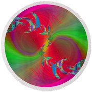 Round Beach Towel featuring the digital art Abstract Cubed 383 by Tim Allen