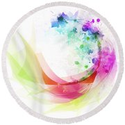 Abstract Curved Round Beach Towel