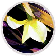 Abstract Daffodil And Droplets Round Beach Towel