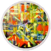 Lines And Colors Round Beach Towel
