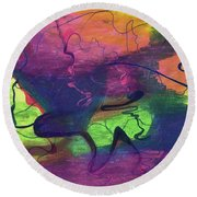 Colorful Abstract Cloud Swirling Lines Round Beach Towel