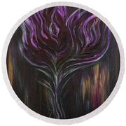 Abstract Dark Rose Round Beach Towel