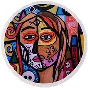 Abstract Day Of The Dead Round Beach Towel by Pristine Cartera Turkus