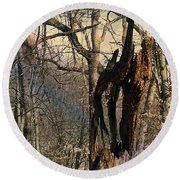 Abstract Dead Tree Round Beach Towel