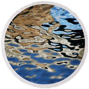 Abstract Dock Reflections I Color Round Beach Towel