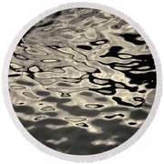 Abstract Dock Reflections I Toned Round Beach Towel