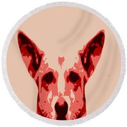 Abstract Dog Contours Round Beach Towel