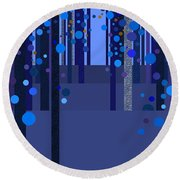 Abstract Dreamscape - Blues Round Beach Towel