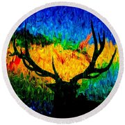 Abstract Elk Scenic View Round Beach Towel