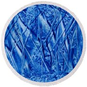 Abstract Encaustic Blues Round Beach Towel