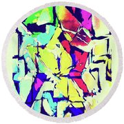 Round Beach Towel featuring the digital art Abstract Explosion by Susan Leggett