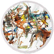 Round Beach Towel featuring the painting Abstract Expressionism Painting Series 1041.050812 by Kris Haas