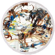 Round Beach Towel featuring the painting Abstract Expressionism Painting Series 1042.050812 by Kris Haas