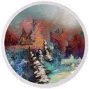 Abstract Fall Landscape Painting Round Beach Towel